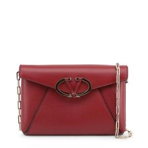 New Valentino Red Leather Clutch Crossbody Bag